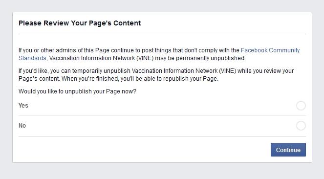 Corrupt Facebook Bans 41 Vaccination Activists Screenshot 2