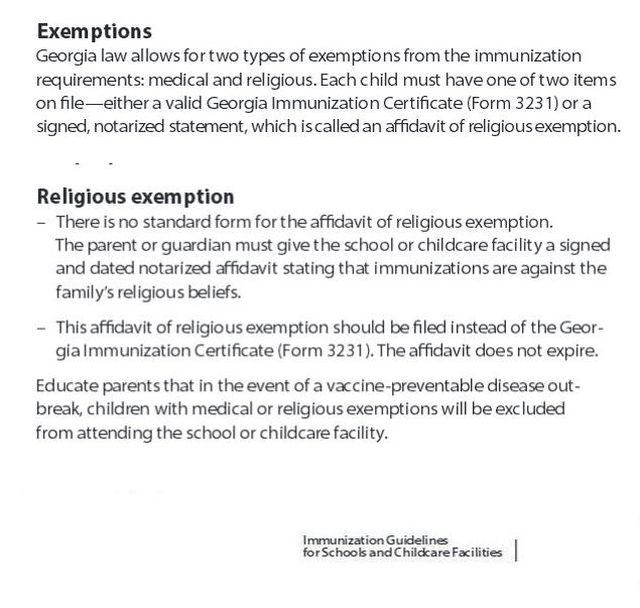 NonVaccinating Georgia Parents Coerced Into Signing Religious